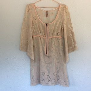 Free People floral lace bell sleeve mesh dress
